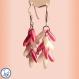 Boucles d'oreilles pluie, courtes couleur rose bonbon et neige