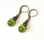 Boucles d'oreilles *olivine* perles verre et bronze