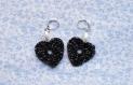 Boucles d'oreille - cœur noir et argent