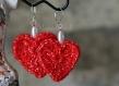 Boucles d'oreille - cœur rouge et perle