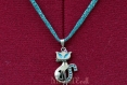 Pendentif chat turquoise