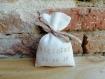 Sachet à dragées en lin ivoire personnalisé, bourse à dragées avec inscription sable et lien en liberty beige rosé