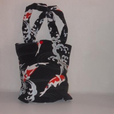 Sac molletonné en tissu japonais fond noir et kois
