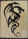 Pyrogravure dragon tribal