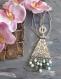 N°000 collier ras du cou en métal argenté, avec des perles en pierres fines