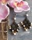 N°610 boucles d'oreilles en métal couleur bronze avec des  perles de