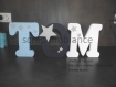 Lettre en bois, prénom en bois, lettre à poser, prénom à poser personnalisé thème étoile