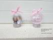 Cadeau parrain marraine / cadeau souvenir baptême /personnalisé / boule plexi/plastique / cadeau baptême /  8cm thème coeur , couleur rose et gris