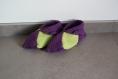 Chaussons en laine violets et verts anis au crochet taille 36-37