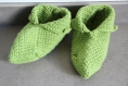 Chaussons en laine verts clair au crochet taille 37-38