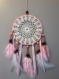 Attrape rêve / capteur de rêve circulaire couleur rose diamètre 15 cm