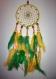 Attrape rêve / capteur de rêve circulaire de couleur jaune et vert de 15 cm