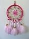 Attrape rêve/ capteur de rêve circulaire de couleur rose de 10 cm