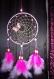 Attrape rêve/ capteur de rêve circulaire de couleur rose avec papillon de 15 cm