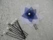Parure bijoux mariage fleur en organza blanc et bleu