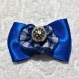 Barrette avec noeud en satin bleu pour petits chiens