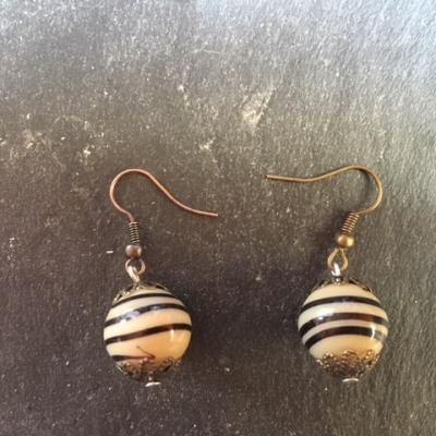 Boucles d'oreilles avec perle lampwork