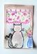 Chat zen, carte postale aquarelle