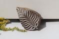 Tampon batik indien feuille en bois sculpté à la main, pochoir - btm3