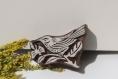 Tampon batik indien oiseau en bois sculpté à la main, pochoir - btm4