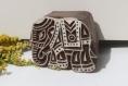 Tampon batik indien éléphant en bois sculpté à la main, pochoir - btm6