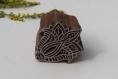 Tampon batik indien rosace, fleur en bois sculpté à la main, pochoir - btm9
