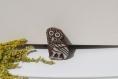Tampon batik indien hibou en bois sculpté à la main, pochoir - btm13