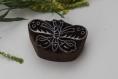 Tampon batik indien petit papillon en bois sculpté à la main, pochoir - btm14