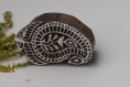 Tampon batik indien fleur d'eau en bois sculpté à la main, pochoir - btm1