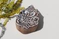 Tampon batik indien en bois sculpté à la main, pochoir, planche à imprimer - btm17