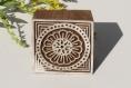 Tampon batik indien carré en bois sculpté à la main, pochoir - btm21