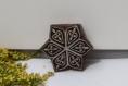 Tampon batik indien étoile en bois sculpté à la main, pochoir - btm22