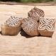 Lot de 4 tampons batiks indiens en bois sculpté à la main, pochoir - btm19