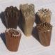 Lot de 5 tampons batiks indiens en bois sculpté à la main, pochoir - btm40