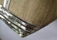 Vanessa bruno style sac cabas, toile de jute brute, coloris naturel, paillettes or pales