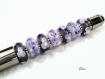Stylo en acier gun brillant et perles violettes creation unique d670