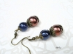 Boucles d'oreilles en perles bleu et marron *bo539