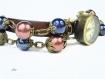Montre en cuir et perles nacrées bleu et chocolat m168