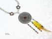 Collier ethnique avec plume jaune co670