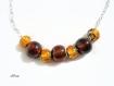 Collier en perles de verre marron et orange sur chaine co126
