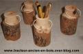 Pot a crayons bidon a lait en bois massif