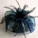 Grande barrette fleur en tissu & plumes et perles 057