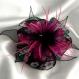 Grande barette fleur en tissu & plumes et perles 112