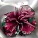 Petite barrette fleur en tissu & plumes et perles 112