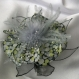 Grande barrette fleur en tissu & plumes et perles 146