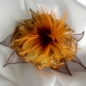 Grande barrette fleur en tissu & plumes et perles *147