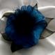 Grande barrette fleur en tissu & plumes et perles 175