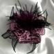 Grande barrette fleur en tissu & plumes et perles 181