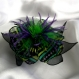 Grande barrette fleur en tissu & plumes et perles 187