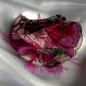 Petite barrette fleur en tissu & plumes et perles 113